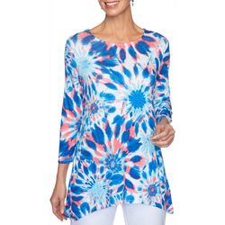 Ruby Road Favorites Womens Tie Dye Print Jewel Neck Top