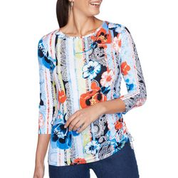 Ruby Road Favorites Womens Floral Striped Ruched Top