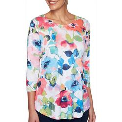 Ruby Road Favorites Womens Floral Print Round Neck Top