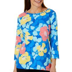 Ruby Road Favorites Womens Floral Embellished Boat Neck Top