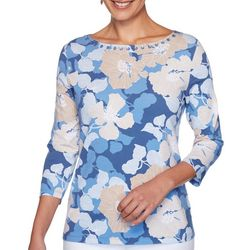 Ruby Road Favorites Womens Floral Embellished Boat Neck Top