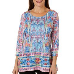Ruby Road Favorites Womens Mixed Ikat Sharkbite Hem Top