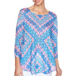 Ruby Road Favorites Womens Floral Patchwork Embellished Top