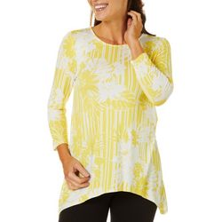 Ruby Road Favorites Womens Hibiscus Stripe Boat Neck Top