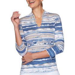 Ruby Road Favorites Womens Embellished Tie Dye Stripe Top