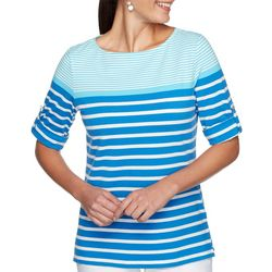Ruby Road Favorites Womens Striped Boat Neck Top