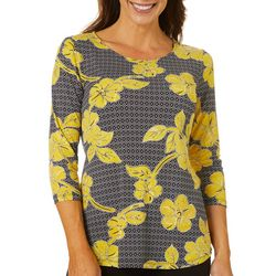Ruby Road Favorites Womens Geo Floral Boat Neck Top