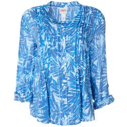 Ruby Road Favorites Womens Leaf Print Button Down Top