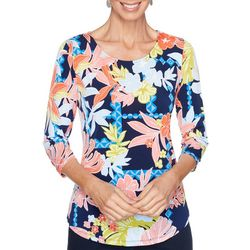 Ruby Road Favorites Womens Floral Print Scoop Neck Top