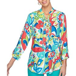 Ruby Road Favorites Womens Brights Lace Front Top