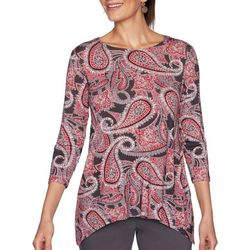 Ruby Road Favorites Womens Paisley Sharkbite Hem Top