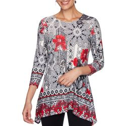 Ruby Road Favorites Womens Floral Sharkbite Hem Top