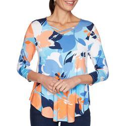 Womens Floral Print Crisscross 3/4 Sleeve Top