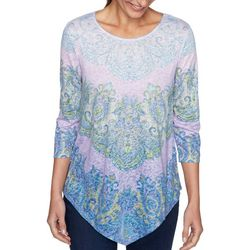 Ruby Road Womens A Line Printed 3/4 Sleeve Top