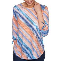 Womens Striped Printed 3/4 Sleeve