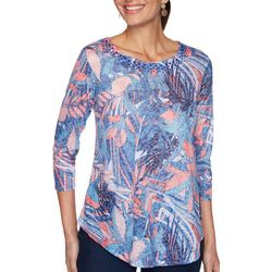 OneWorld Womens Print 3/4 Sleeve Top