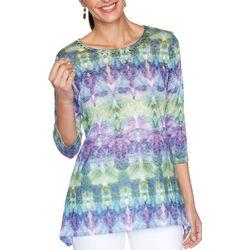 OneWorld Womens Print Embellished Short Sleeve Top