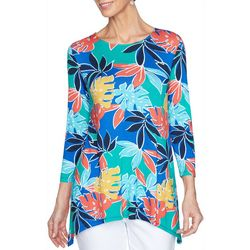 Ruby Road  Womens Leaf Print Round Neck Top