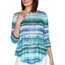Ruby Road  Womens Stripe Round Neck Top