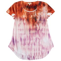 OneWorld Womens Miexed Tie-Dye Embellished Top