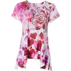 OneWorld Womens Embellished Heart Print Short Sleeve Top