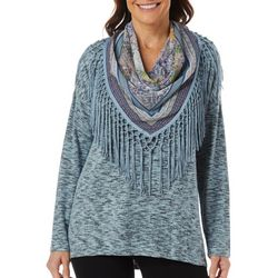 OneWorld Womens Scarf & Heathered Solid Round Neck Top