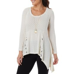OneWorld Womens Solid Lace Panel Long Sleeve Top