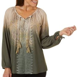 OneWorld Womens Mixed Print Lace Embellished Long Sleeve Top