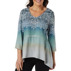 OneWorld Womens Floral Paisley Jewel Embellished Ombre Top