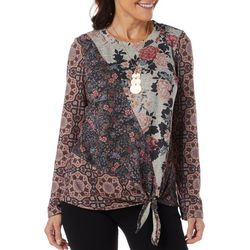 OneWorld Womens Patchwork Print Tie Front Long Sleeve Top
