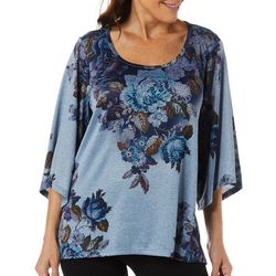 OneWorld Womens Floral Print Jewel Embellished Top