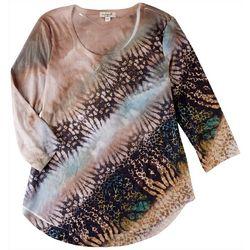 OneWorld Womens Diagonal Print 3/4 Sleeve Top
