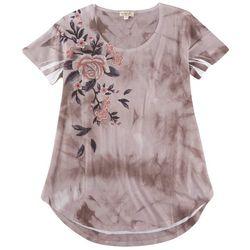 OneWorld Womans Floral Embellished Short Sleeve Top