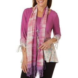 OneWorld Womens Floral Print Top And Scarf Set
