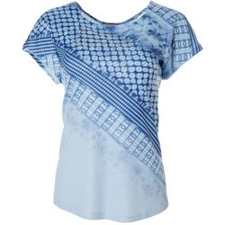 OneWorld Womens Embellished Mixed Print Short Sleeve Top