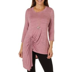 OneWorld Womens Solid Heathered Twist Front Round Neck Top