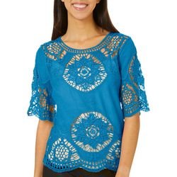 OneWorld Womens Crochet Short Sleeve Top