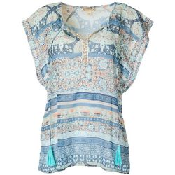 Energy Womens Mixed Boho Print Short Sleeve Top