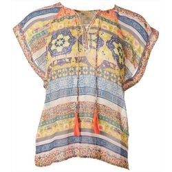 OneWorld Womens Mixed Boho Print Short Sleeve Top