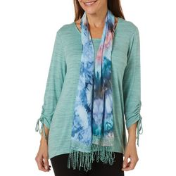 OneWorld Womens Solid Heathered Top And Scarf Set