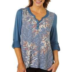 OneWorld Womens Floral Henley Split Neckline Top