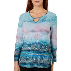 OneWorld Womens Geo Tile Print Keyhole Detail Top
