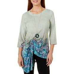 OneWorld Womens Floral Trim Twist Front Round Neck Top
