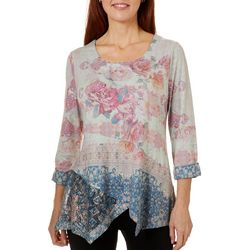 OneWorld Womens Floral Print Lace Trim Top