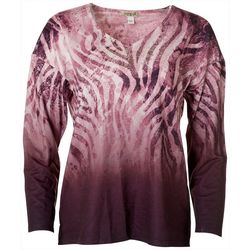 OneWorld Womens Embellished Zebra Print Long Sleeve Top