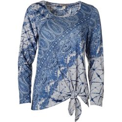 OneWorld Womens Embellished Paisley Tie Long Sleeve Top