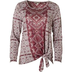 OneWorld Womens Embellished Geometric Tie Long Sleeve Top