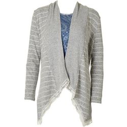 OneWorld Womens Striped Knit Open Front Cardigan