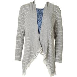 Womens Striped Knit Open Front Cardigan