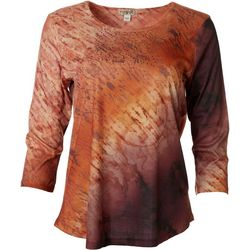 OneWorld Womens Stud Embellished 3/4 Sleeve Top